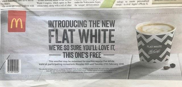 Flat white voucher McDonald's