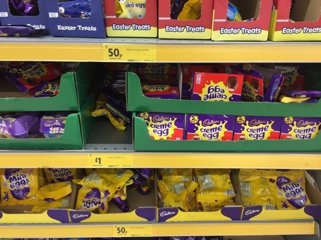 Cheap post easter chocs eg 16p creme eggs 125 lindt bunny reduced chocolates at sainsburys negle Choice Image