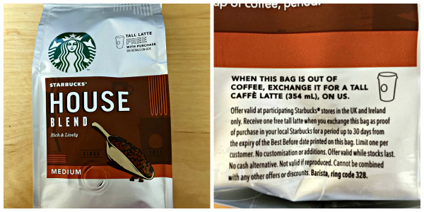Free Starbucks Latte With 163 2 50 Bag Of Coffee