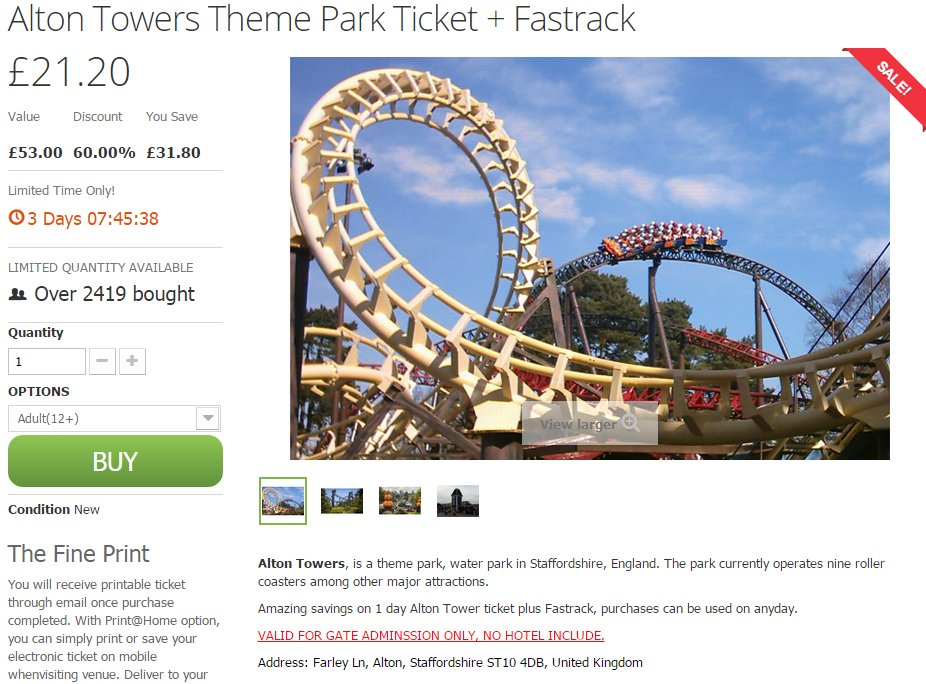 Alton Towers scam warning