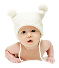 picture of new baby in knitted hat