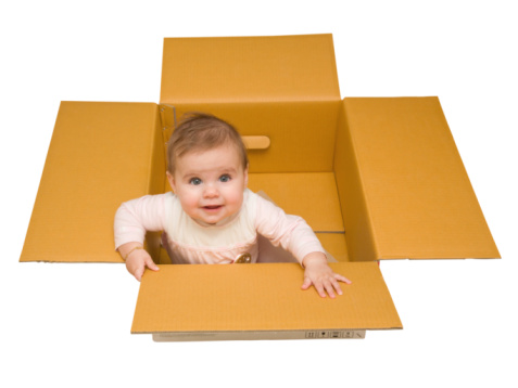 picture of new baby in box