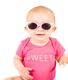 picture of new baby in sunglasses