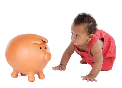 picture of baby and piggy bank