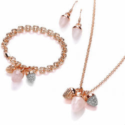 Buckley London 'Acorn' rose gold-plated jewellery set