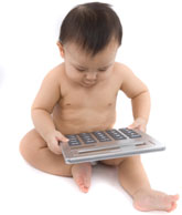 baby with large calculator