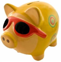 piggy bank in sunglasses