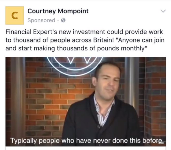 fake courtney mompoint ad