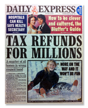 Council tax article on the front page of the Daily Express