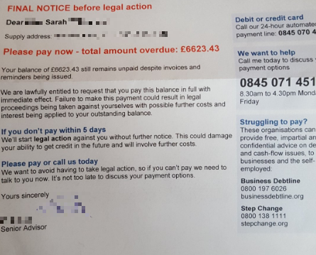 Npower sent a £6,000 bill and threatened legal action - and