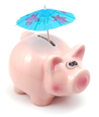 Piggy bank on holiday