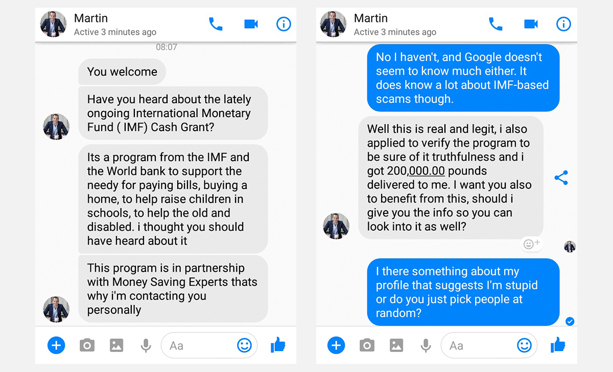 Martin lewis slams new facebook messenger scam using his name and no youre not martin how the scam unfolded ccuart Image collections