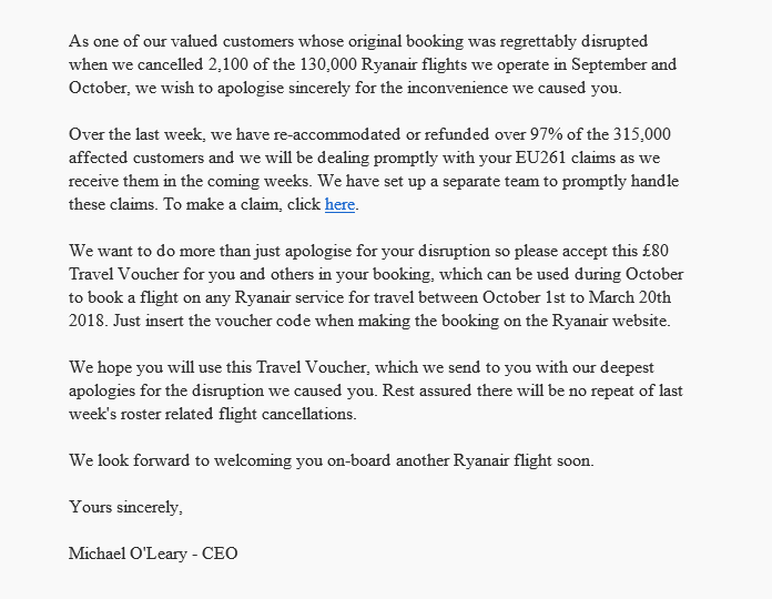 Ryanair offers up to 80 in vouchers following flight cancellations – How to Make Vouchers