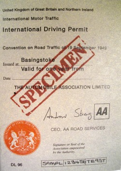 Example of an international driving permit