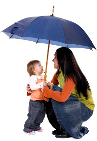 picture of mother and child under umbrella