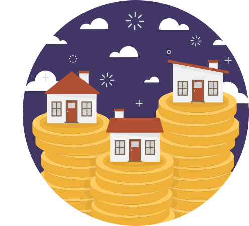 Homes built on money illustration
