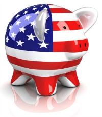 Picture of piggy bank with American flag